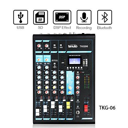 Tenuto Tech Portable Compact Mixer Audio Mixer Analog Mixer 6-Channel Profossional Analog Mixer Console With 3 Band EQ