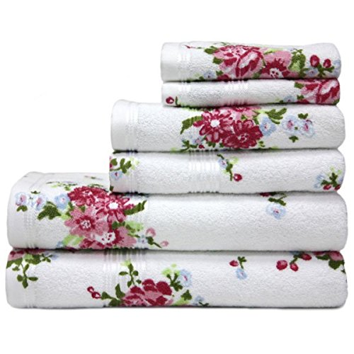 Harwoods Printed Rose 100% Portuguese Cotton Face Cloth, White/Pink
