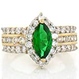 10k Solid Gold Emerald Green CZ with White CZ Accents
