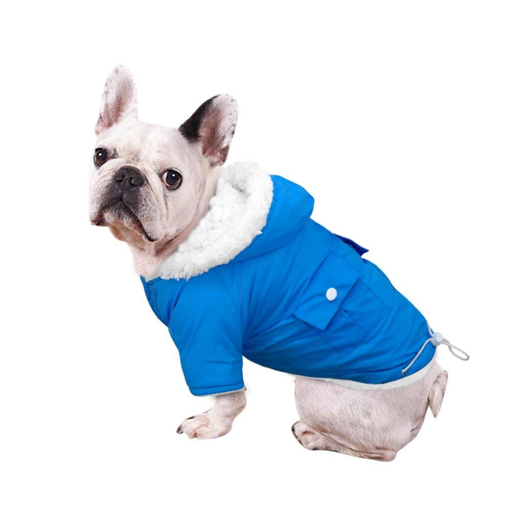 Windproof Waterproof Cold Weather Dog Coat - Doggie Puppy Vest Warm Pet Ski Jacket - Dog Apparel for X-Large 13'' Back Length,Blue