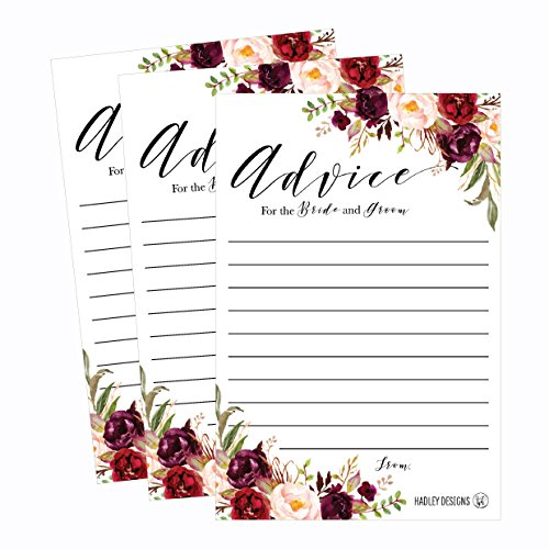 50 4x6 Floral Wedding Advice & Well Wishes For The Bride and Groom Cards, Reception Wishing Guest Book Alternative, Bridal Shower Games Note Card Marriage Advice Bride To Be, Best Wishes For Mr & Mrs (Bride Note)