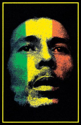 Bob Marley Face with Ragaee Stripes Blacklight Reactive Flocked Poster