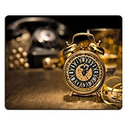 Liili Mouse Pad Natural Rubber Mousepad IMAGE ID 33511300 Composition with vintage clock showing five to midnight and an old phone Happy New Year 2015