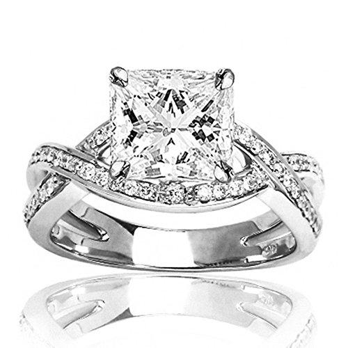14K White Gold 1.49 CTW Eternity Love Criss Cross Twisting Split Shank Diamond Engagement Ring w/1.1 Ct GIA Certified Princess Cut J Color VS1 Clarity Center