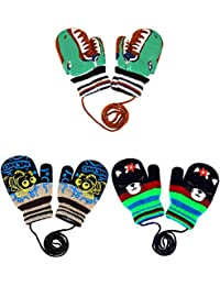 3 Pairs Toddler Magic Stretch Mittens Full Finger Knit Gloves Winter Warm Mittens (Color Set 5)