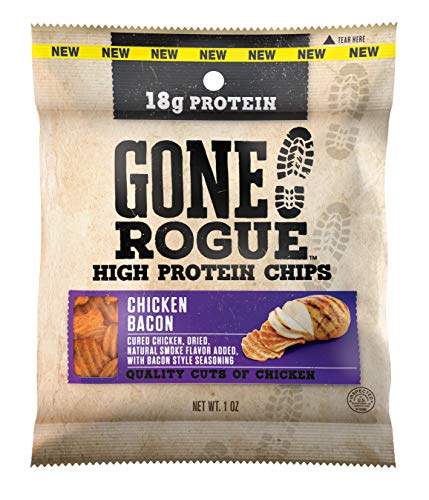 Gone Rogue High Protein Chicken Bacon Chips | Low Carb, Gluten Free, Keto Friendly Snacks | 4 pack