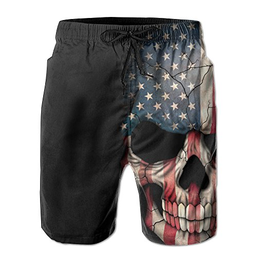 Skull Head and American Flag Men's Quick Dry Beach Board Shorts Summer Swim Trunks for Father's Day for Boy -