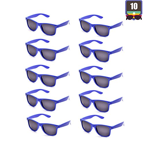 10 Packs Adult and Kids Neon Colors 80's Retro Style Sunglasses (Adult Royal Blue) ()