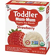 Hot-Kid Toddler Mum-Mum Rice Biscuits, Organic Strawberry, 12 packs of 2 Biscuits (Total 24 Biscuits) Organic, Gluten Free, Allergen Free, Non-GMO, Rice Teether Cookie for Toddlers