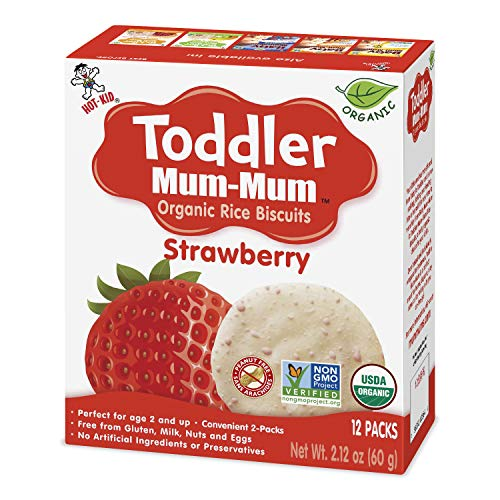 Hot-Kid Toddler Mum-Mum Rice Biscuits, Organic Strawberry, 12 packs of 2 Biscuits (Total 24 Biscuits) Organic, Gluten Free, Allergen Free, Non-GMO, Rice Teether Cookie for Toddlers (Pack of 6)