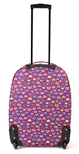 tc-hp-01Corazones), color morado–Juego de 4de equipaje, Funky ligero Maleta Aero de viaje
