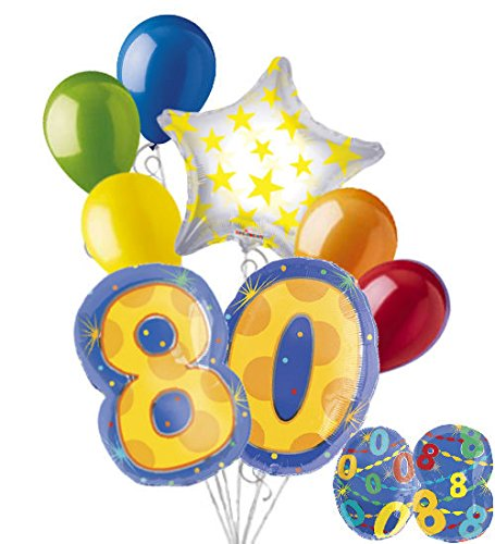 8 pc 80th Birthday Theme Balloon Bouquet Party Decoration Number Primary Color ()