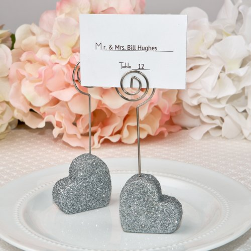 96 Heart Themed Silver Glitter Place Card Holders by Fashioncraft