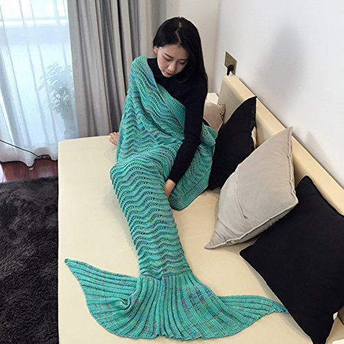Lilac Goddess Costume (Handmade Mermaid Tail Blanket Crochet , T-tviva All Seasons Warm Knitted Bed Blanket Sofa Quilt Living Room Sleeping Bag for Kids and Adults(72.8