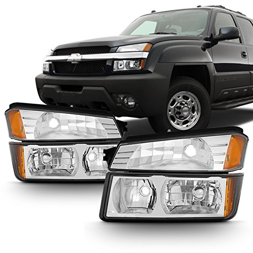 For Chrome 2002 2003 2004 2005 2006 Chevy Avalanche Body Cladding Model Headlights+Bumper Lights Set ()