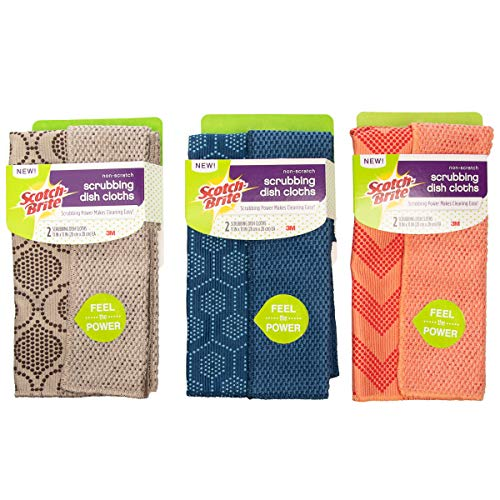 Scotch Brite (Set Of 6) 11 x 11 Inch 3M Dish Towels And Dish Cloths For Kitchen Washing Dishes Non-Scratch -