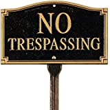 Whitehall Products Custom Yard or Wall Sign (Black/Gold, NO TRESPASSING)