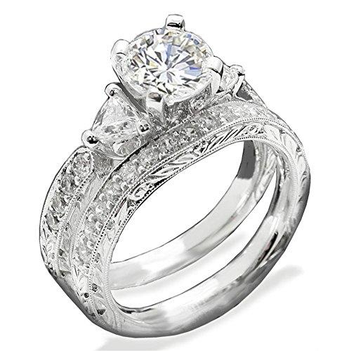 TOP GRADE PAVE 3-STONES SIMULATED DIAMOND RING SET SCROLL PATTERN (Prong Trellis Ring)