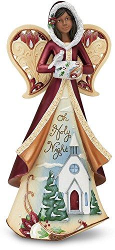 "Pavilion-""Oh Holy Night"" Ebony Christmas Angel Figurine with Painted Scene 9"""