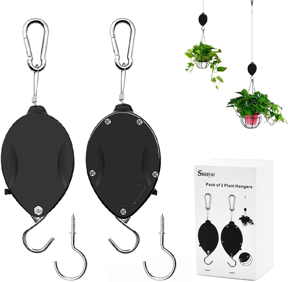 Sunnayc Retractable Plant Pulley, Adjustable Plant Hanger with Locking Button and Metal Ceiling Hooks for Hanging Plants, Garden Flower Baskets, Pots and Bird Feeders, Easily Lower or Raise (2, Black)