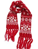 MTFS Winter Warm Scarf Reindeer Snowflake Knit Scarf Lovely Christmas Scarf (A# - Red)
