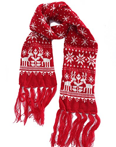 MTFS Winter Warm Scarf Reindeer Snowflake Knit Scarf Lovely Christmas Scarf (A# - Red) by MTFS