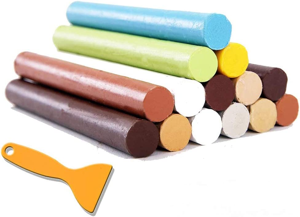 Crayon Furniture Floor Repair Kit Wood Filler - 14 Colors+1 Scraper - Melting Wax Stick Crayons for Scratches, Nail Hole, Wood Floors, Tables, Desks, Carpenters, Bedposts