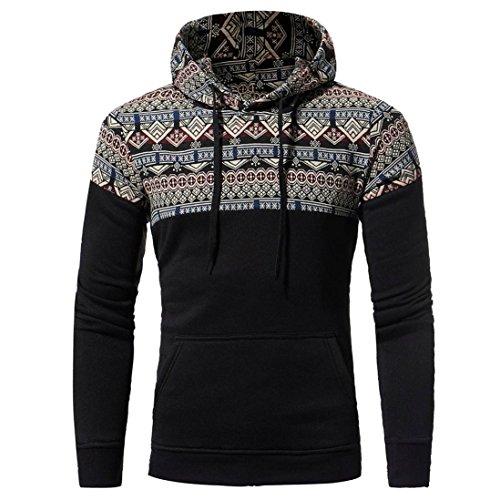 Sinzelimin Winter Autumn Men Retro Long Sleeve Hoodie Hooded Sweatshirt Tops Jacket Coat Sport Outwear Baseball Tops (Black, XXXL) by Sinzelimin