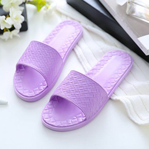 FankouZapatillas de verano parejas femenino interiores baño ducha antideslizante cool Zapatillas casa suave de plástico inferior zapatillas verano ,36-37), Púrpura