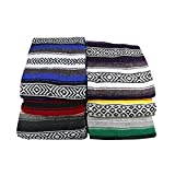 Deluxe - Extra Thick, Soft and Machine Washable Mexican Yoga Blankets in Traditional Stripes and Vibrant Colors, By Yogavni(TM)