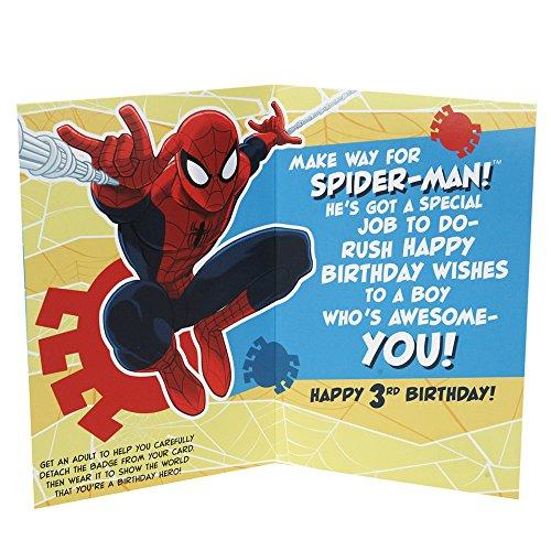 Amazon Hallmark Spider Man 3rd Birthday Card For Boy Removable