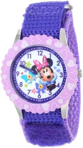 Disney Kids' W001021 Minnie Time Teacher Stainless Steel Watch with Purple Nylon Band