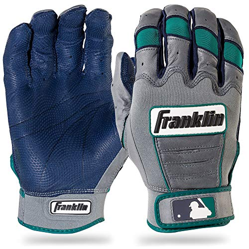 Franklin Sports Adult Robinson Cano CFX Pro Signature Series Batting Gloves, Adult Medium, Pair, Navy/Gray/Teal