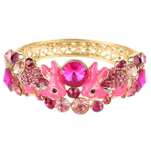 EVER FAITH Women's Austrian Crystal Enamel Adorable 2 Rabbit Bangle Bracelet Pink Gold-Tone (Pink Crystal Austrian Bracelet)