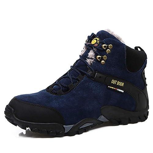 Mens Winter Snow Botines Unisex CáLidos Zapatos De Trabajo Casuales con Cordones Zapatillas De Deporte Al Aire Libre para El Senderismo Senderismo: ...