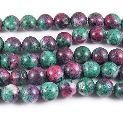 "Round Gemstone Beads-Green Ruby Zoisite 12mm 15"" strand 12mm (31)"