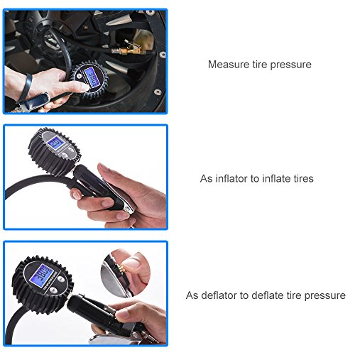 Digital Tire Pressure Gauge MICTUNING Heavy Duty 200 PSI Tire Inflator Air Pressure Gauge with Air Chuck, Valve Extender and Compressor Accessories Black Fits Car Truck Bike Motorcycle by MICTUNING (Image #2)