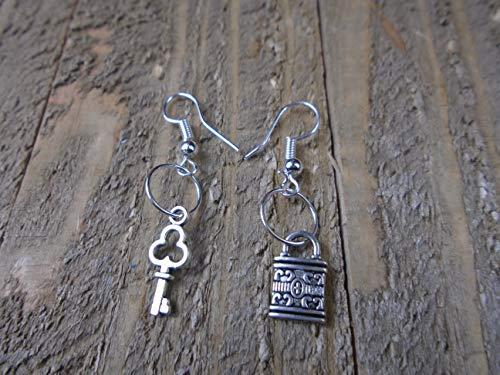 BEACH HEMP JEWELRY Mini Key and Lock Earrings Silver Charm Dangles Handmade In USA - Dangle Lock