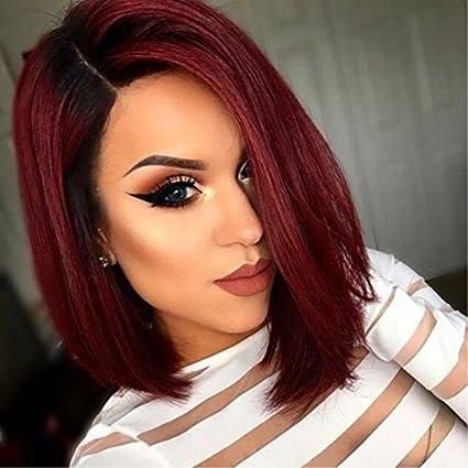 Corto Ombre rojo Bob peluca cabello natural rojo estilo barato sintético Pelucas Para Las Mujeres Negras