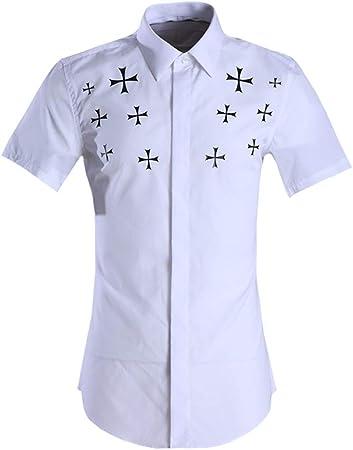 Camisa hawaiana de los hombres Camisa lisa de manga corta de verano para hombre Camisa lisa