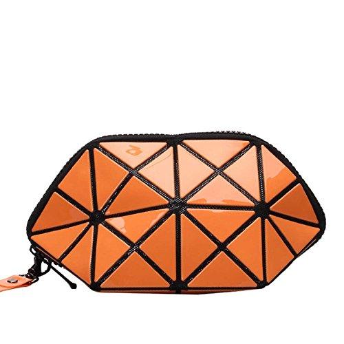 Bolso Plegable Bolso Cosmético Del Cambio Del Laser Geométrico Rhombic Zipper Clutch Lentejuelas Almacenamiento Orange