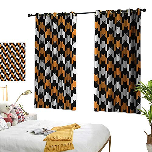 Halloween Decor Curtains by Digital Style Catstooth Pattern Pixel Spooky Harvest Fashion Illustration W55 x L63,Suitable for Bedroom Living Room Study, etc. -