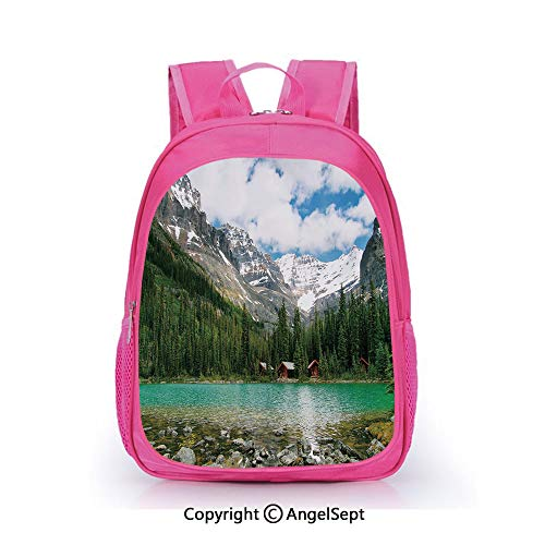 Fashion Kindergarten Children Waterproof Bookbag,Canada Ohara Lake Yoho National Park with Mountains Nature Scenery Art Photo Multicolor,15.7inch,Elementary School Travel Bag For Girls