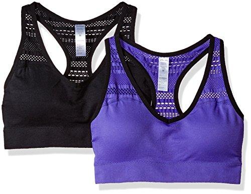 Spalding Women's 2 Pack Sports Bra, Violet Haze/Deep Black Trim/Deep Black/Deep Black, (Violet Trim)