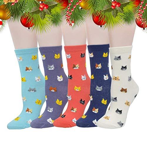 MpingT Women Girl's Lovely Cat Cartoon Pattern Casual Cotton Crew Floor Socks (Cat2-pack of 5) (Cartoon Casual Pattern)