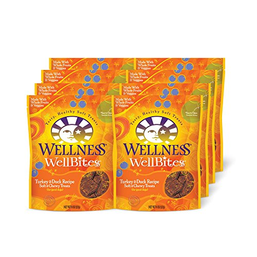 Wellness WellBites Turkey & Duck Natural Soft Dog Treats, 8-Ounce Bag, Case of 8