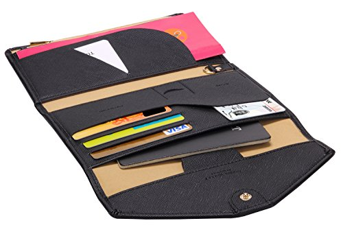 511wV3MZIeL - Zoppen Multi-purpose Rfid Blocking Travel Passport Wallet (Ver.4) Tri-fold Document Organizer Holder, 1 Black