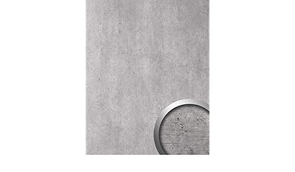 Panel decorativo aspecto cemento WallFace 19091 CEMENT LIGHT hormigón piedra atractivo decoración revestimiento mural autoadhesivo gris claro gris 2,60 m2: ...