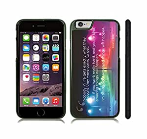 """iStar Cases? iPhone 6 Plus Case with """"Nobody in life..."""" Conan O'Brien Quote, Inspirational, White Font, Colorful City Lights , Snap-on Cover, Hard Carrying Case (Black)"""