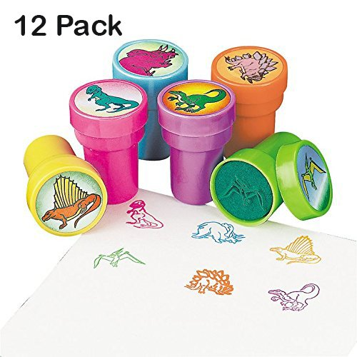Price comparison product image Dinosaur Stampers 1.5 Inches - 12 Pieces – Assorted Colored Dinosaur Stampers - For Kids Great Party Favors, Bag Stuffers, Fun, Toy, Gift, Prize – By Kidsco